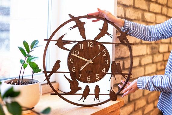 Big Clocks Clock Wall Decor Bird Clock Rustic Wall Clock Etsy