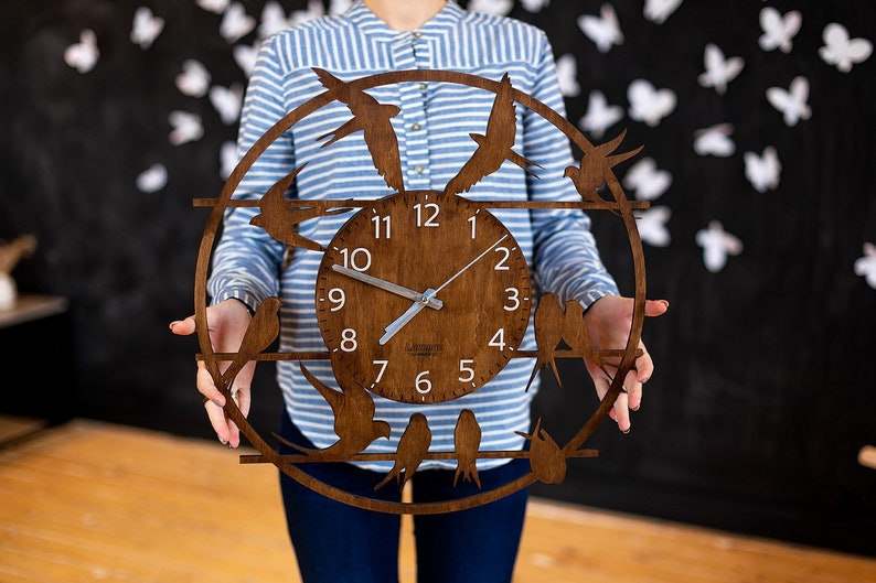 Große Uhren Uhr Wand Dekor Vogel Uhr Rustikale Wanduhr Etsy