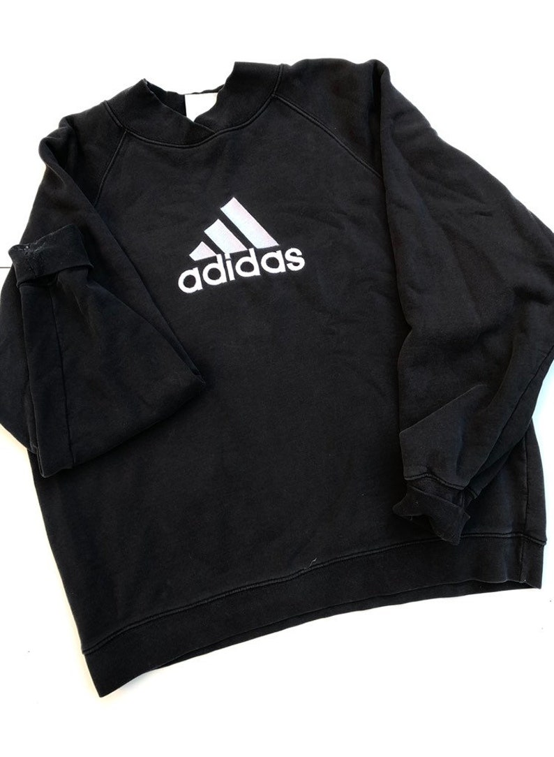 8316c25a91ec Adidas Big Logo Sweatshirt Black Men Small Long Sleeve Crew | Etsy