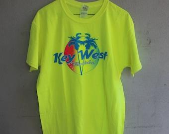 1980s 1990s 80s 90s  Neon Key West  Florida Souvenir short sleeve tee shirt  t shirt beach palm trees