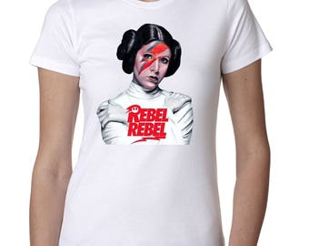"""Star Wars Princess Leia 'Rebel Rebel"""" Custom Womens tshirt"""