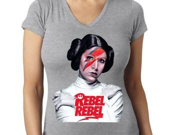 """Star Wars Princess Leia 'Rebel Rebel"""" Custom Triblend Womens V-Neck tshirt"""