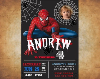 Spiderman Invitation With Your Boy As Birthday Amazing Custom Photo