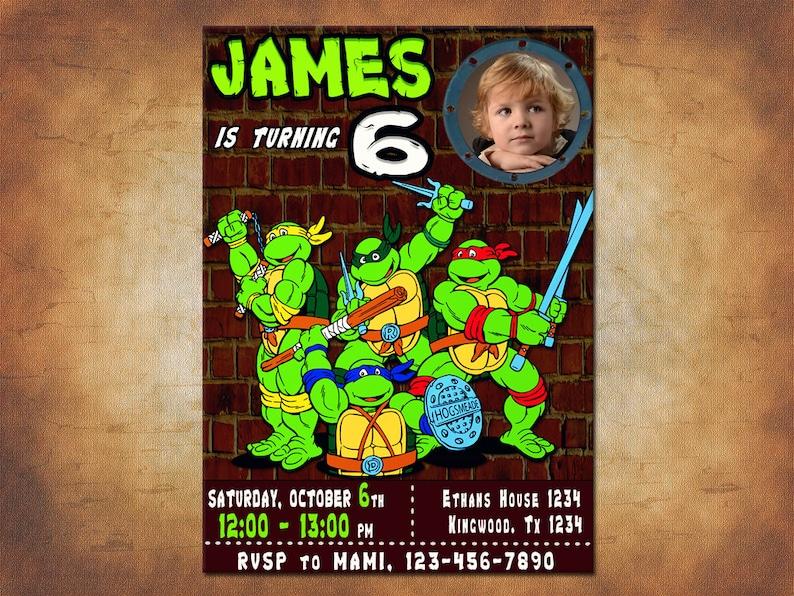 TMNT Invitation Teenage Mutant Ninja Turtles Invitations Party Printables Personalized Invites