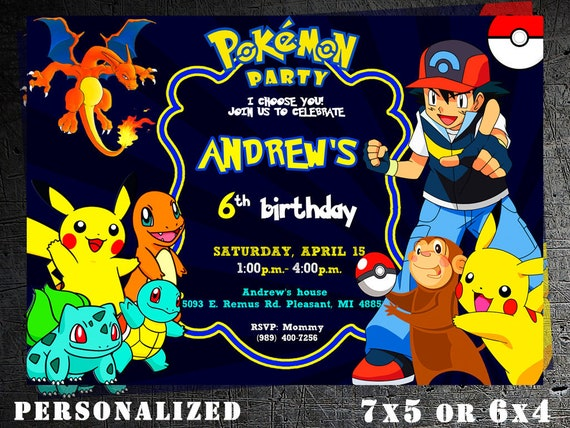 Pokemon Invitation Birthday Party Eevee