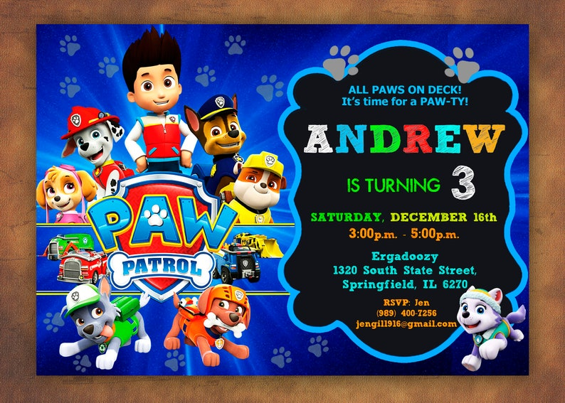 Paw Patrol Invitation Birthday Party