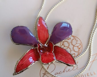 Bi color natural orchid, very rare of the cimbidium family, purple, pink incorporated in resin.