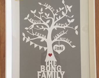Personalised Family Tree Papercut, Handcut, Home Gift,  Framed