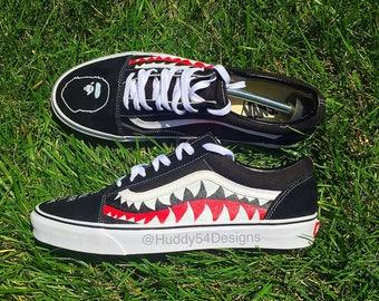 Custom Shark Teeth Bape Old Skool Vans