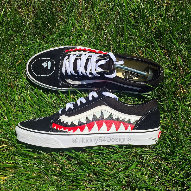 Personnalisé Old Requin Skool Bape VansEtsy Dents 08XnwNkOP