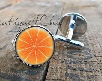 Orange cufflinks, fruit cufflinks, cuff links
