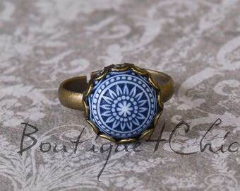 Blue mosaic ring, romantic, gift for her