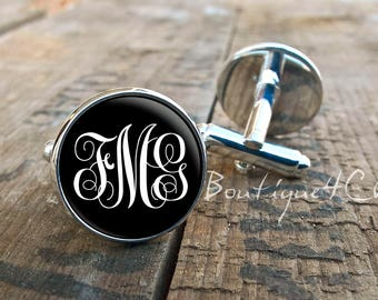 Monogram cufflinks, customisable cufflinks, cuff links
