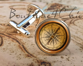 Compass cufflinks, retro style compass, cuff links