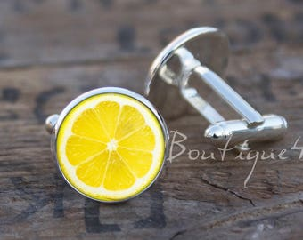 Lemon cufflinks, lemon, cuff links, citrus