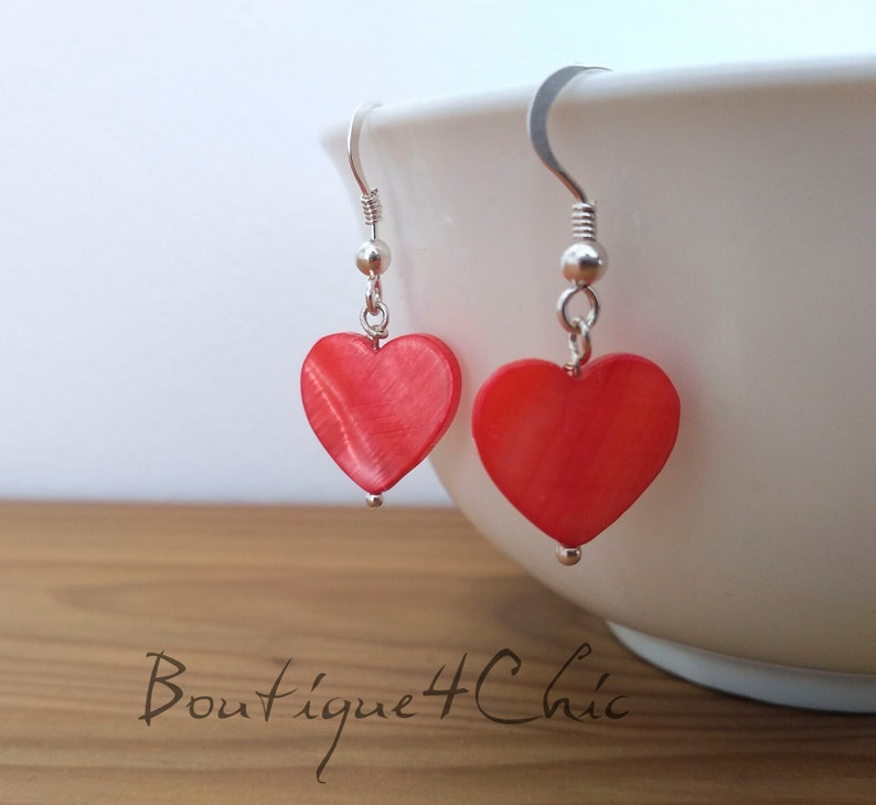 925 Sterling Silver Earrings Heart Earrings Gift for her Contemporary Earrings Mother of perl red heart limited quantity love