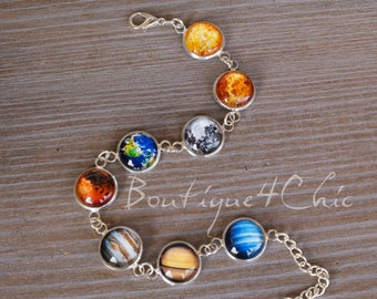 Solar system bracelet, planet bracelet, space, galaxy, astronomy
