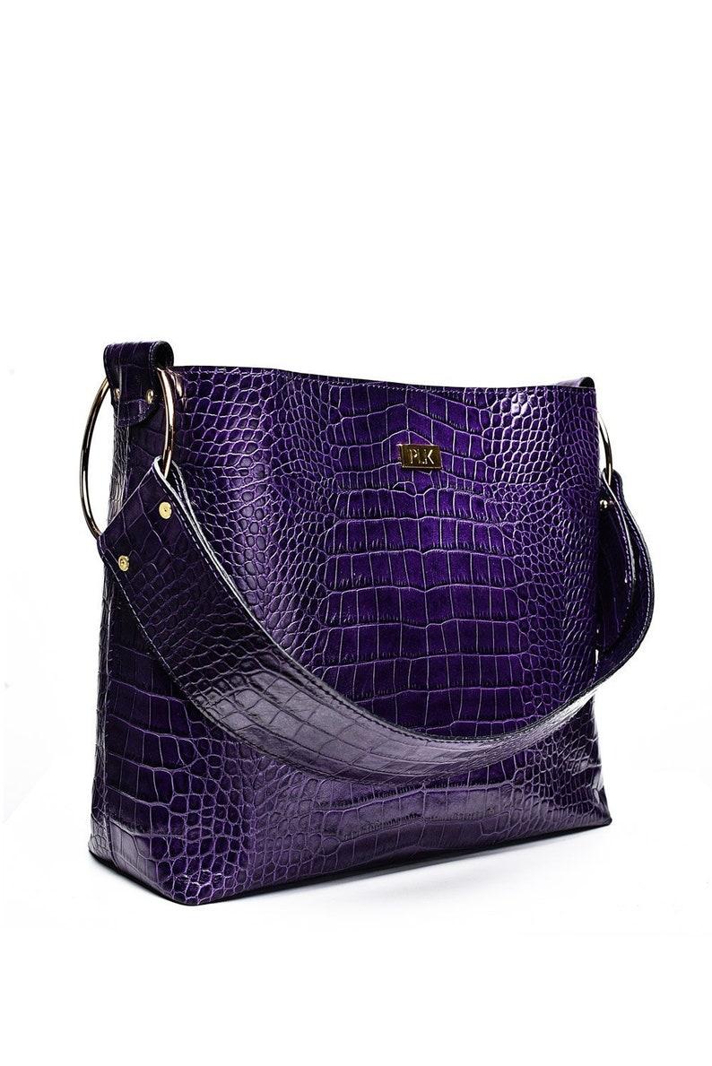 7ffd2f62ff41 Purple Leather Handbag Large Handbag Leather Totes Leather   Etsy