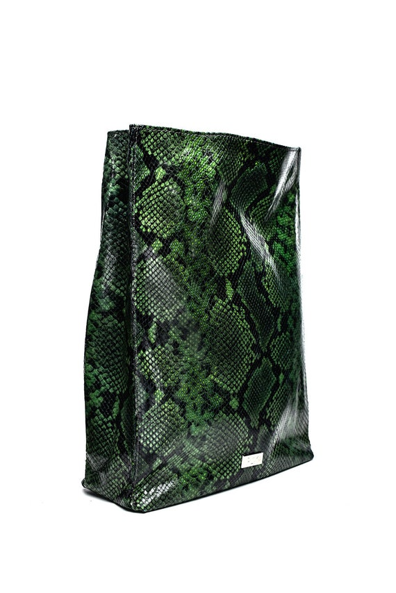 outlet for sale really cheap super popular Green Leather Clutch, Leather Handbags, Handmade Bag, Leather Bag, Green  Snake print Bag, Extravagant Clutch, Green leather bag