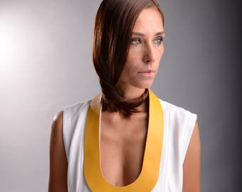 Statement Bib Necklace, Leather Necklace, Steampunk Necklace, Long Leather Neckace, Leather Jewelry, Mothers Day Gift, Extravagant Necklace