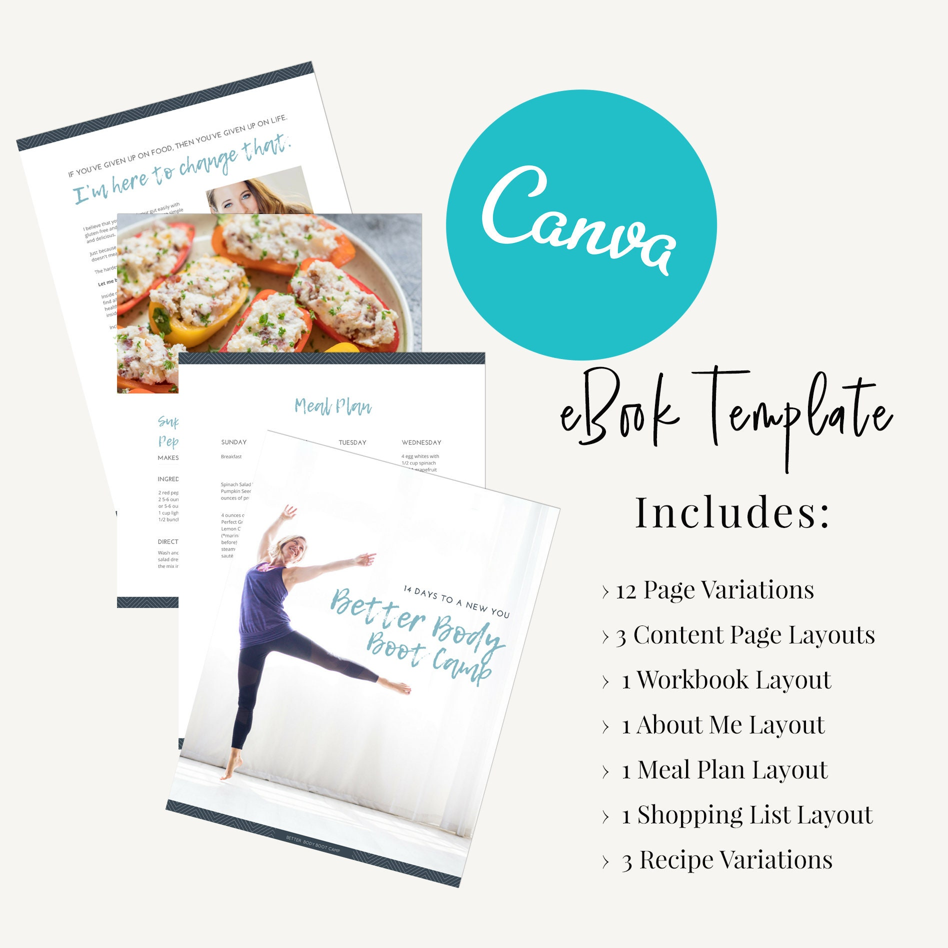 Opt-in Freebie Template: EBook Health Coaches and Personal Trainers, CANVA  template, lead magnet template