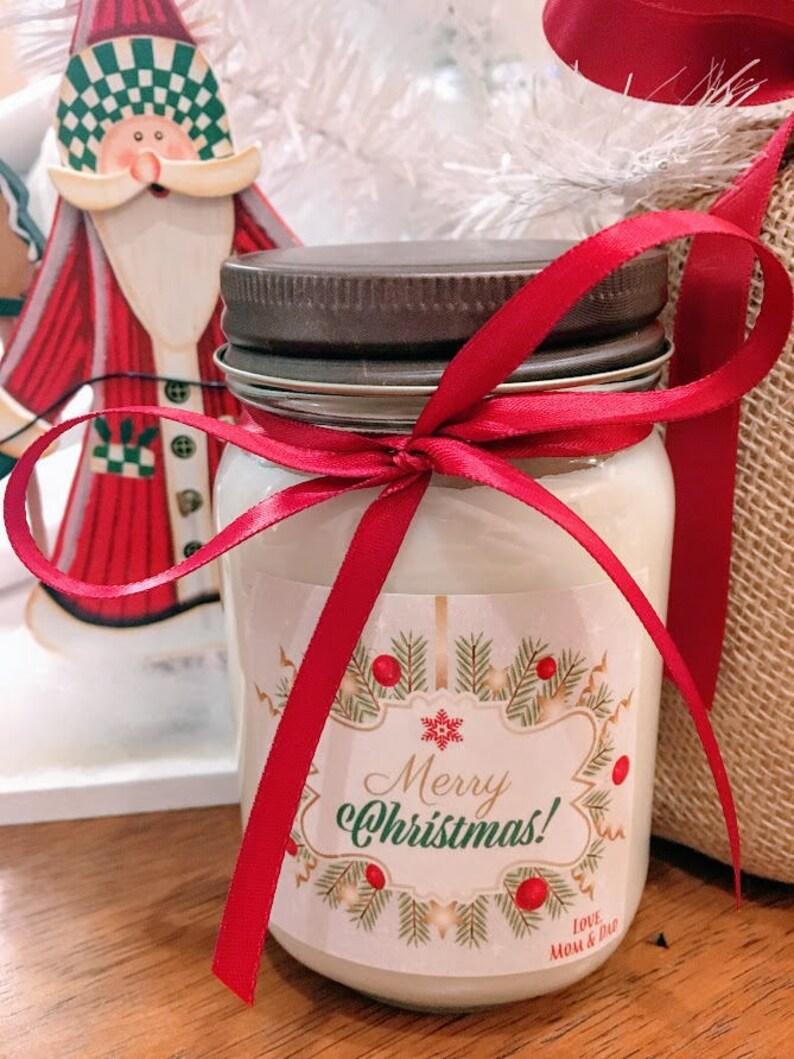 Merry ChristmasCustom Soy CandleHoliday CandleMatching Satin RibbonPersonalized GiftsHoliday Gifts