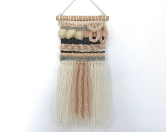 Mini Woven Wool Wall Hanging - Pink and Cream Colour Palette