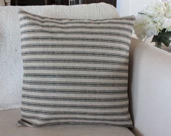 Tan With Black Stripes Ticking, Grain Sack Style Pillow Cover//Farmhouse Pillow  Covers// Sofa Pillow Cover// Pillow Pillows// Throw Pillows