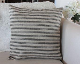 Tan with Black Stripes Ticking, Grain Sack Style Pillow Cover//Farmhouse Pillow Covers// Sofa Pillow Cover// Pillow Pillows// Throw Pillows