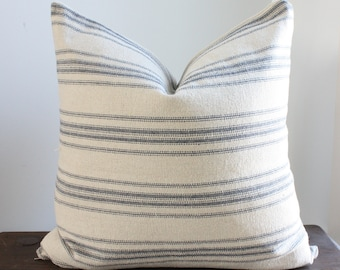 Beige with Blue Stripes Grain Sack Style Pillow Cover/ Farmhouse Pillows/ Covers Are Sized Down to Fit Inserts, See Details