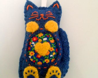 Blue Wool Plush Cat Ornament