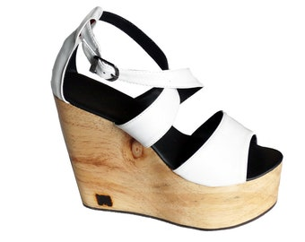 87f25e6b91c1c9 No24  Wedge Sandal with African Wood   Customize and personalise as you  like   create own fashion look   High Heel Wedges