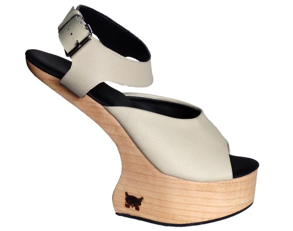S1: Lady Gaga style Carved Wooden Shoes Sculpted Wooden Platform Wedge Africa Wood Wedge Sandal Free Customisation Handmade