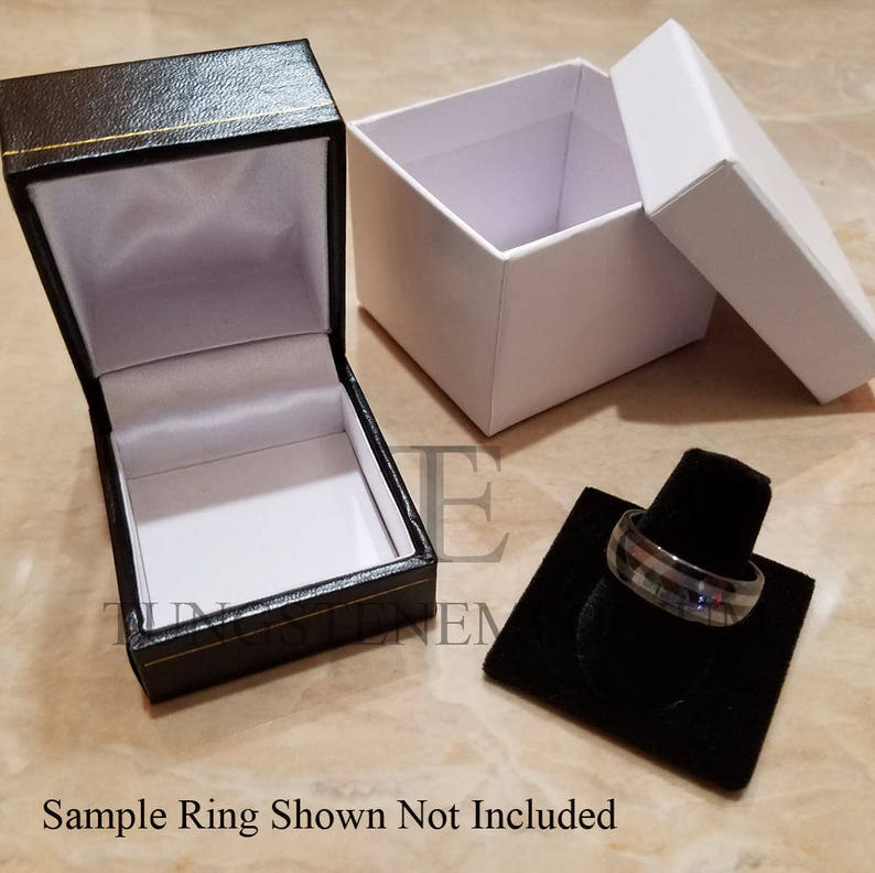 Tungsten Carbide Ring Brushed Black Single Red Inlay Angled Wall Comfort Fit Wedding Band Mens Womens Jewelry 8mm or 6mm