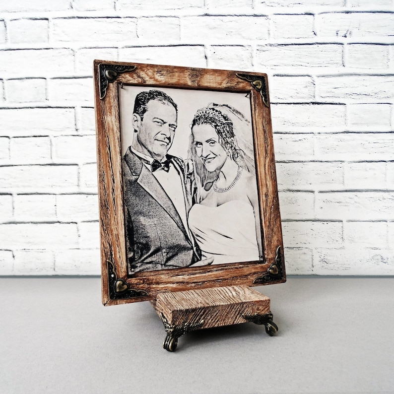 RARE Pyrography Handmade Technique by Artists on Real Leather Etched Your Photo Hand Engraved 10th Wedding Anniversary Gift For Him