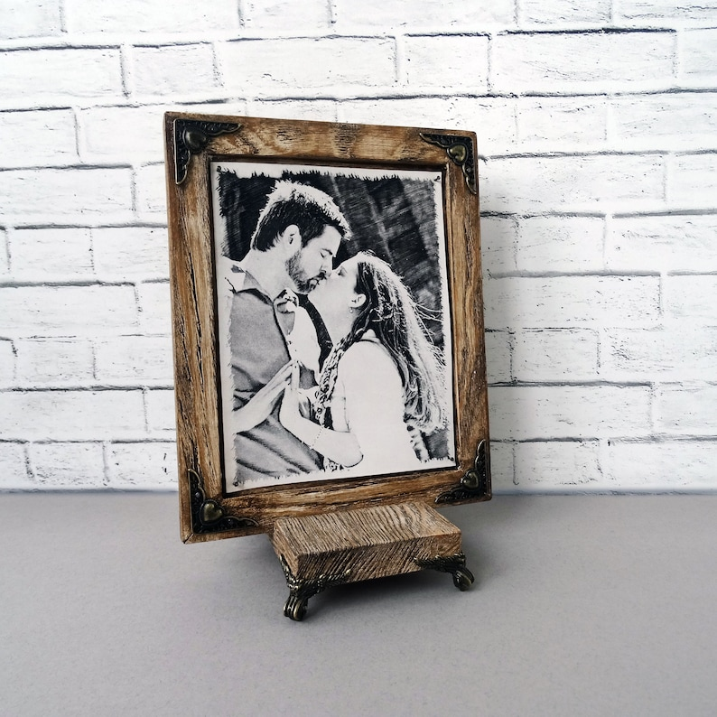 6th Wedding Anniversary Gift Etched RARE Pyrography Handmade Technique by Artists on Real Leather Your Photo Hand Engraved