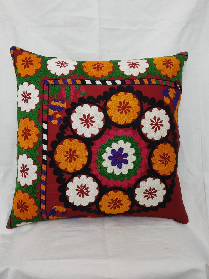 58x58cm Gorgeous Hand Embroidery Uzbek Traditional Vintage Suzani Cushion Decorative Pillow Cover,Floral Needle work Suzani Cover