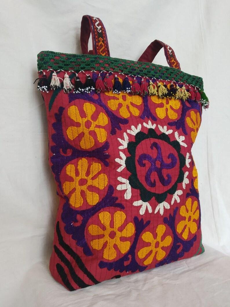 Uzbek Vintage Hand Embroidery Suzani Bag,Purse for women Uzbek Ethnic Bag Style Shoulder Bag Ehhnic With Tassel Bag