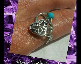 Peace, Love and Butterflies Ring Size 7