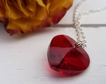 Red heart necklace, Swarovski® Crystal heart pendant, Large faceted red heart, Silver heart necklace, Bridesmaid gifts, Bridesmaid jewellery
