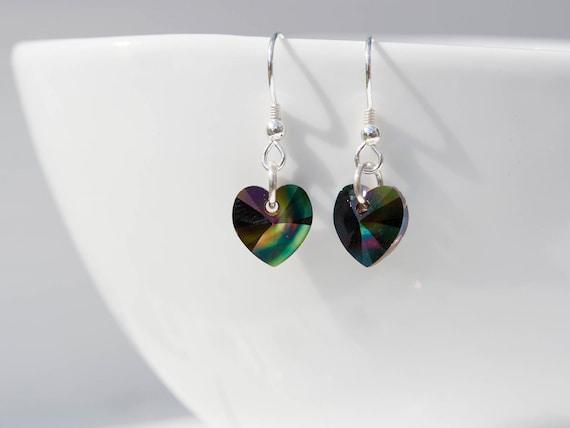 bf6ae2078 Multi coloured heart earrings Swarovski® Crystal heart   Etsy