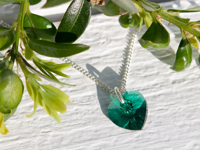 529c80990 Emerald green heart necklace Mother's Day gift Crystal   Etsy