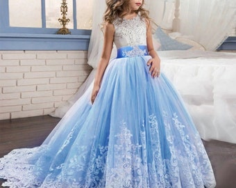 cdbde65618 Teen Girls Princess Long Dress Prom Party Wedding Birthday Dresses Holy  Communion Girls Gown 5th 7th Birthday Dress Size 3 Years - 12 Years