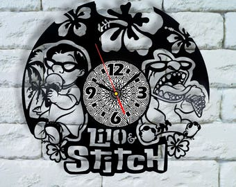 Lilo and Stitch Disney art clock lilo and stitch birthday lilo and stitch gift lilo and stitch wall art stitch wood decor costume cosplay