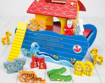 Colourful Personalised Wooden Noahs Ark Toy