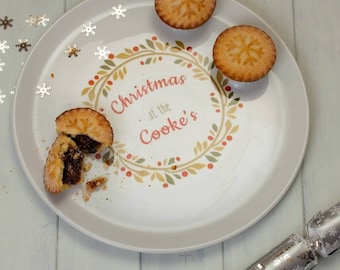Personalised Christmas Wreath Large Serving Plate