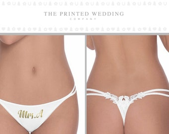 4ae776770659 Bridal Panties - Bride Thong - Mrs Thong - Personalized Wedding Underwear -  Custom Bride Thong - Wedding Lingerie - Mrs Panties - G String