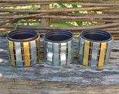 Wicker metal galvanized planter pots, Set of 3 pcs