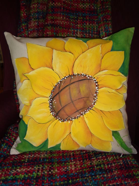 Hand Painted SUNFLOWER Decorative PILLOW COVER 40% Cotton Etsy Inspiration Sunflower Decorative Pillows