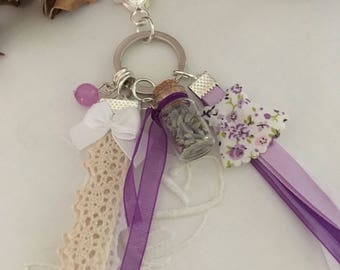 jewel bag lavender and lace, made of a vial, ribbons, Pearl...